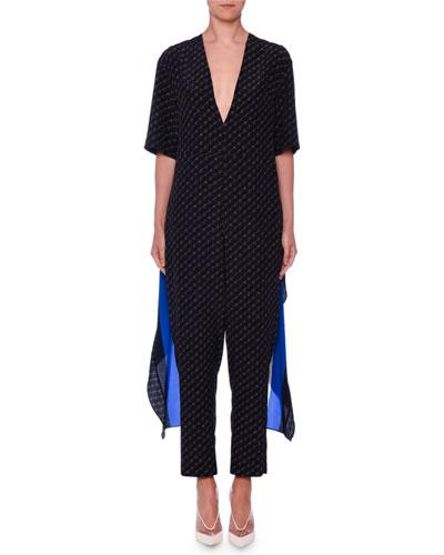 2e8b6cb9783 Blue Silk Jumpsuit