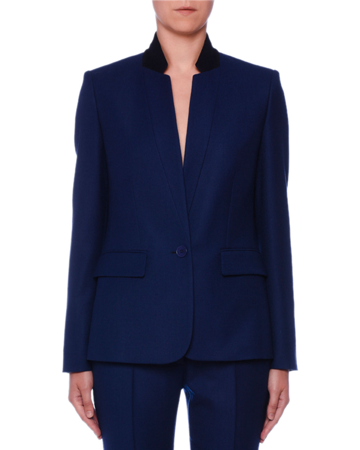 One-Button Stand-Collar Open-Weave Wool Jacket in Blue