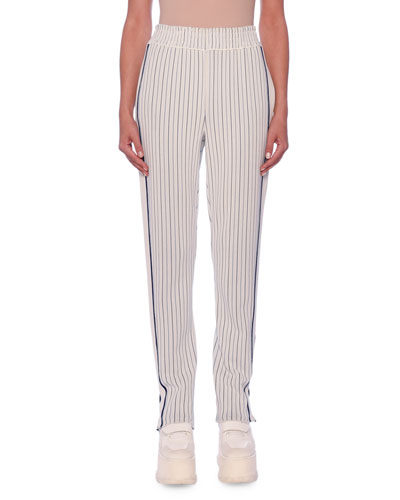 Pinstripe Racer-Stripe Tapered-Leg Pants