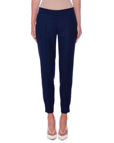 Slim Open-Weave Wool Ankle Trousers