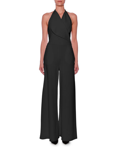 Sleeveless Portrait-Collar Wide-Leg Jumpsuit