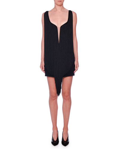 902d778afe Quick Look. Stella McCartney · Plunging Illusion-Neckline Fringe Overlay Mini  Dress