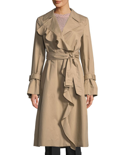 Ruffle-Trim Cotton Trench Coat
