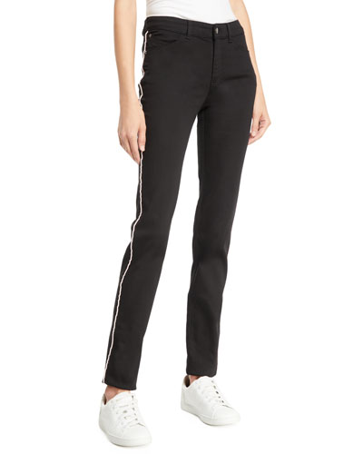 Mid-Rise Piped Skinny Jeans