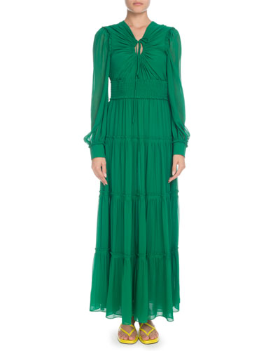Keyhole-Front Long-Sleeve Silk Chiffon Long Peasant Dress