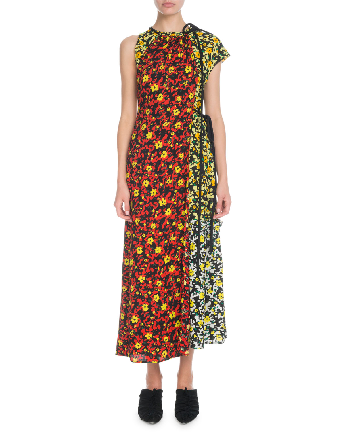Sleeveless Mixed Poppy Wildflower-Print Asymmetric Long Dress in Red
