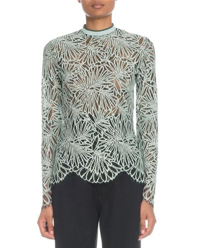 Mock-Neck Long-Sleeve Printed Lace Blouse