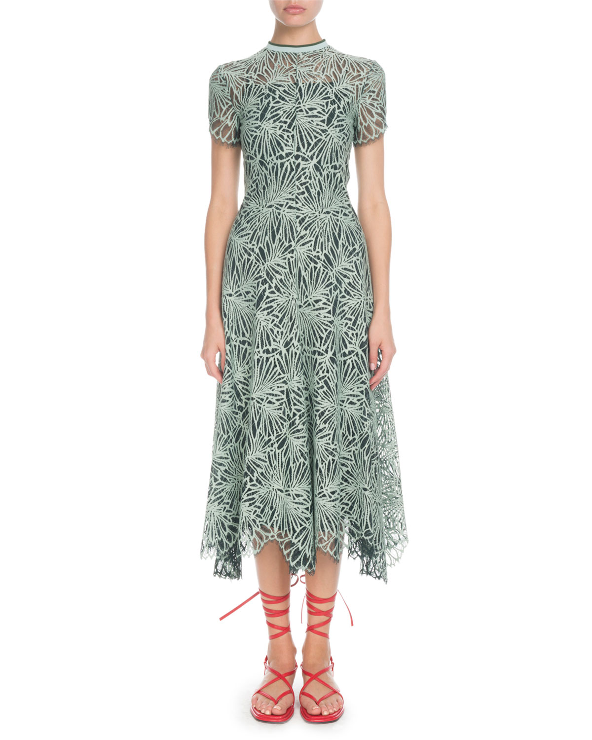Mock-Neck Allover Printed Lace Midi Dress in Spearmint