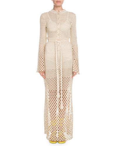 Bell-Sleeve Button-Front Tie-Waist Metallic-Crochet Long Dress