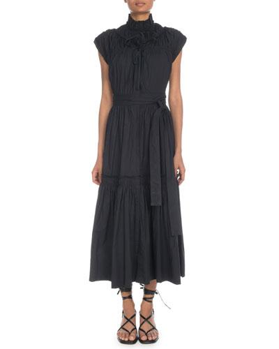 Sleeveless Shirred Cotton Tiered Maxi Dress w/ Self-Belt