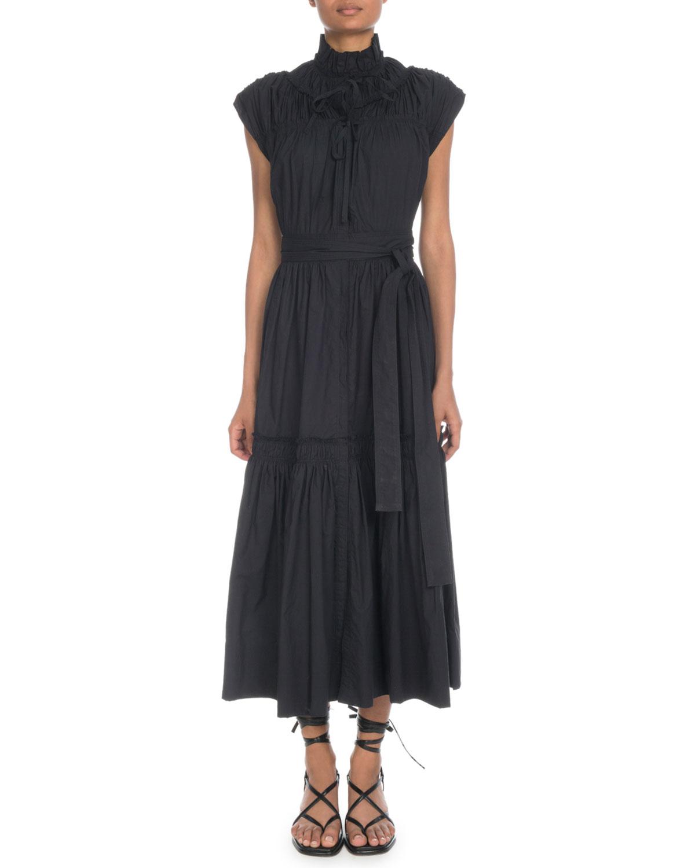 Sleeveless Shirred Cotton Tiered Maxi Dress W/ Self-Belt in Black