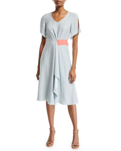 92ad4d9b22bb Quick Look. Emporio Armani · Asymmetric Slit-Sleeve Silk Dress