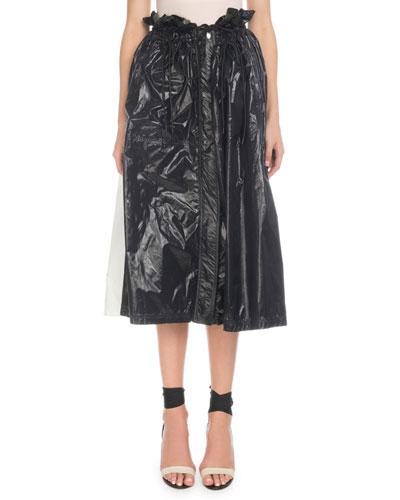 Paperbag-Waist A-Line Shiny Nylon Midi Skirt