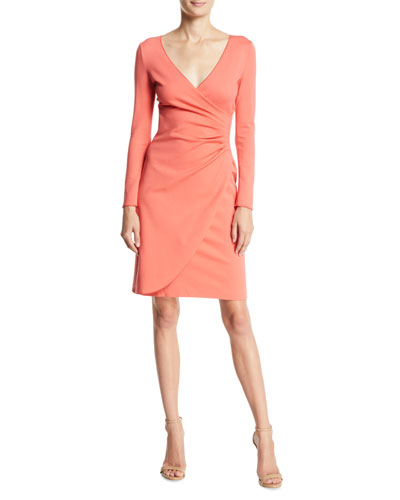 Long-Sleeve Ruched Milano Jersey Dress