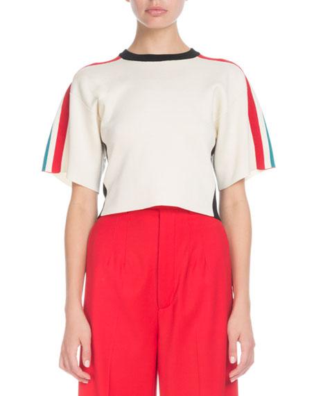Proenza Schouler Crewneck Short-Sleeve Racer-Stripe Crop Sweater