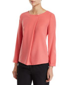 Emporio Armani Long-Sleeve Pleated-Front Tech Cady Blouse and