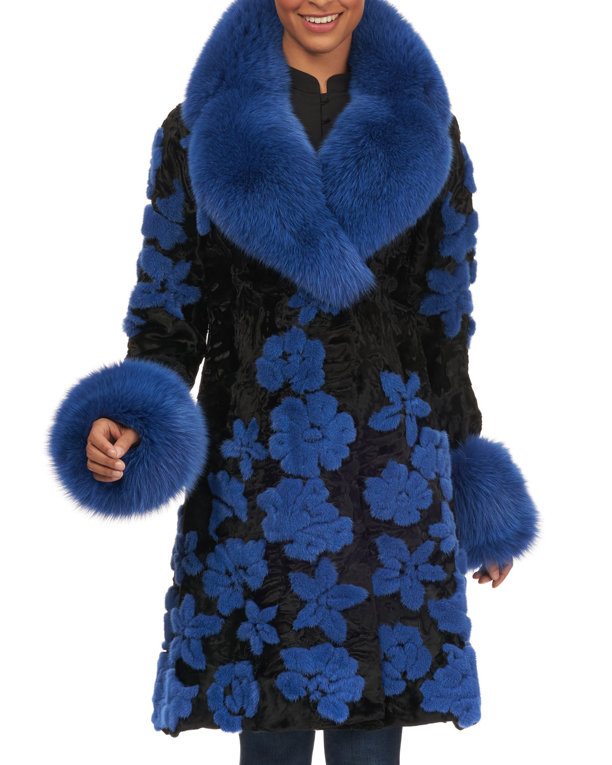 Swakara Fur Stroller Coat w/ Mink Embroidery and Fox Collar