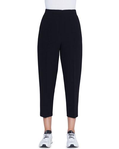 High-Rise Wool-Seersucker Ankle Pants