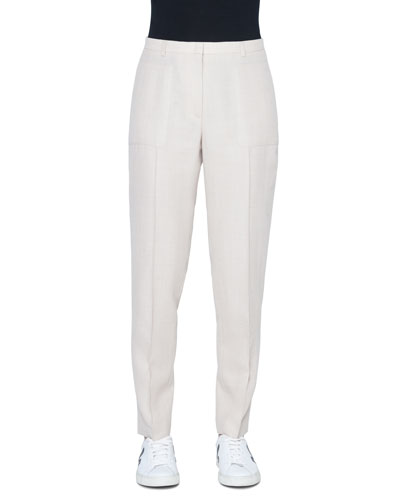 Colin Mid-Rise Straight-Leg Wool-Crepe Pants