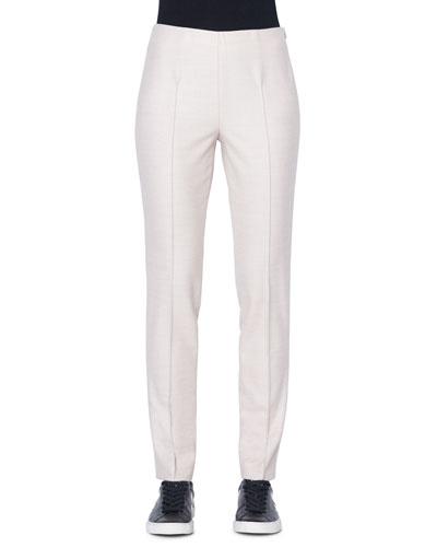 Melissa Wool-Flannel Straight-Leg Pants