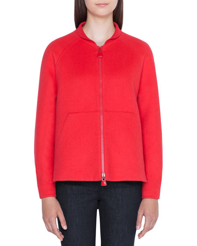 Valerie Ribbed Cashmere Zip-Front Hoodie