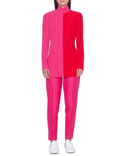 Mock-Neck Long-Sleeve Bi-Color Blouse