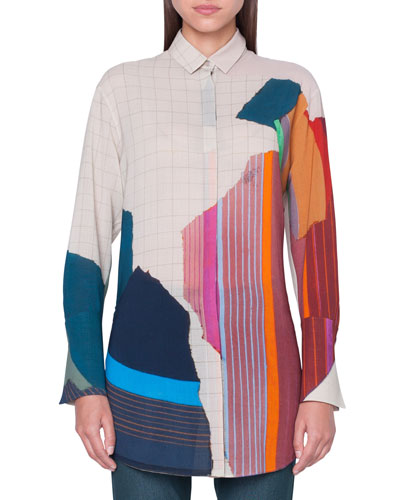 Abstract-Print Button-Front Tunic