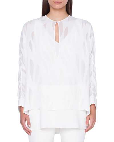Kimono-Sleeve Devore Silk Blouse