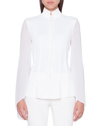 Mock-Neck Flutter-Sleeve Button-Front Georgette Blouse