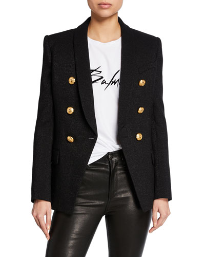 ce753565657f Quick Look. Balmain · Double-Breasted Golden-Button Long Blazer