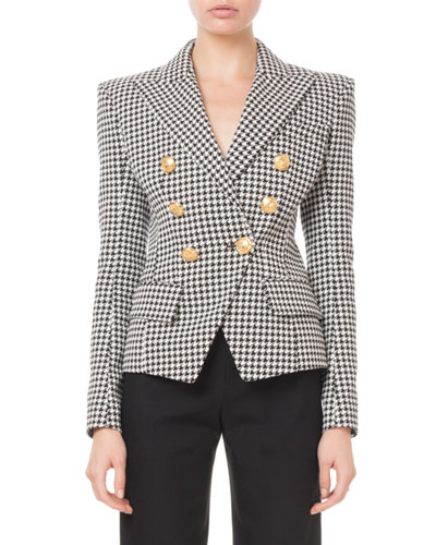 Double-Breasted Golden-Button Houndstooth Blazer