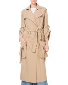 Balmain Golden-Button Cargo-Pocket Trench Coat