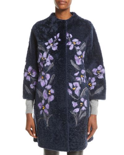 Floral-Embroidered Lamb Shearling Fur Stroller Coat