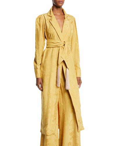 Unusual Romance Belted Jacquard Kimono Robe