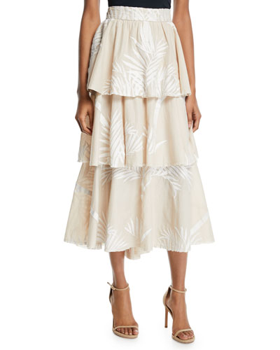 Tremendously Wild Tiered Palm-Print Voile Skirt