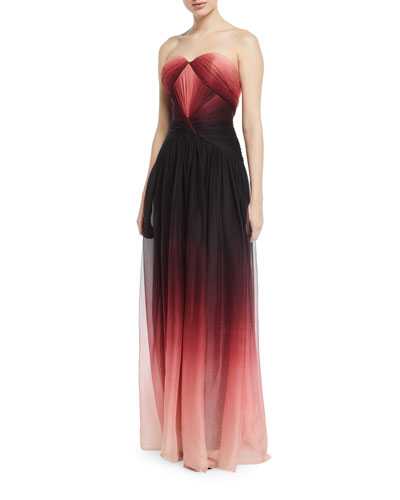 Strapless Sweetheart Ombre Chiffon Gown