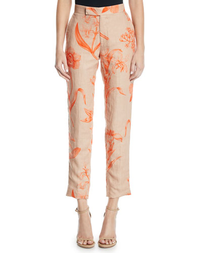 Caminantes Del Carnaval High-Rise Floral-Print Linen Ankle Pants