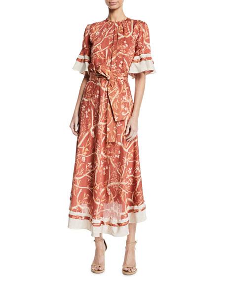 Johanna Ortiz Rhapsody Short-Sleeve Belted Floral-Print Silk Georgette Tea-Length Dress