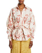 Johanna Ortiz Pouf Long-Sleeve Lily-Print Cotton Poplin Shirt