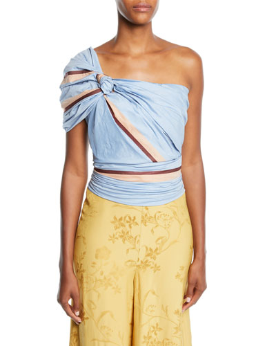Bahanias One-Shoulder Maldives-Stripe Print Fitted Ruched Top