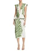 Johanna Ortiz Natural Listic Plunging Cap-Sleeve Palm-Print