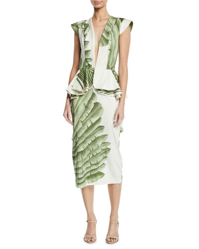 Natural Listic Plunging Cap-Sleeve Palm-Print Stretch Cotton-Sateen Midi Dress
