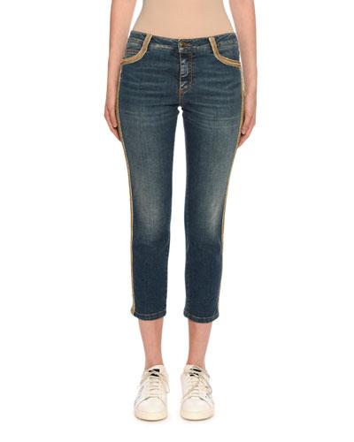 Slim Fit Side-Embellished Jeans