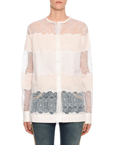 Long-Sleeve Sheer Blouse with Lace Insets
