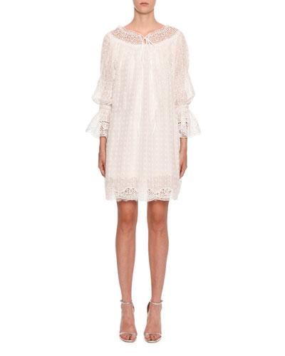 Long-Sleeve Lace and Eyelet Dress