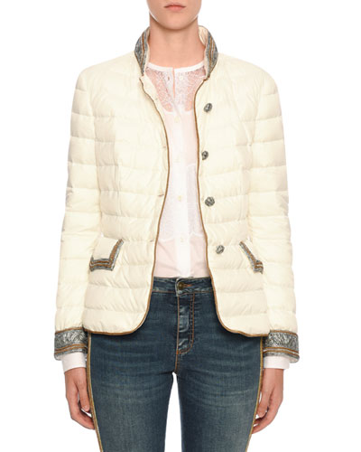 Embellished Quilted Button-Front Jacket