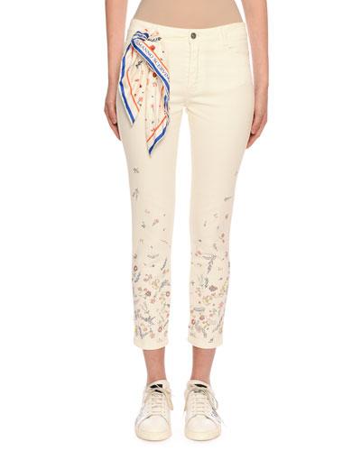 Floral-Embellished Crop Jeans