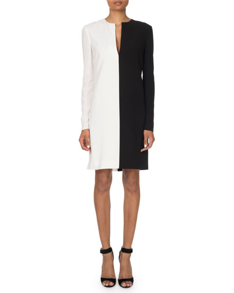 Givenchy Two-Tone V-Neck Shift Dress
