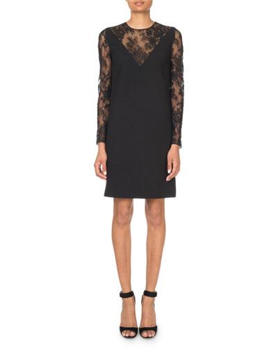 Lace-Inset V-Illusion Mini Dress