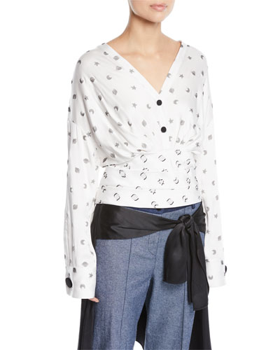 Sphinx V-Neck Cosmic-Print Fil Coupe Blouse w/ Wobi Belt